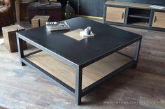 Création et Réalisation: MICHELI Design - Entreprise Artisanale  Fabriquée dans notre atelier, cette table basse industrielle carrée porte avec élégance son mélange de mat - 18193448
