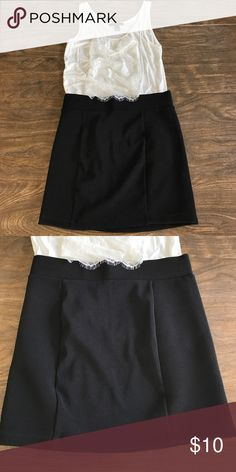 """Fitted Ribbed Black Skirt Fitted. Approx 14.5"""" long. Ribbed panels make for a flattering fit! Lace Tank can also be found in closet. Forever 21 Skirts"""