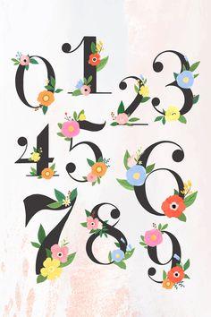 Illustration Blume, Free Vector Illustration, Floral Illustrations, Vector Art, Number Drawing, Number 0, Image Fun, Alphabet Design, Vector Flowers