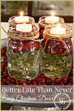 Mejor tarde que nunca, los tarros de albañil en el té-LUCES una semana antes de Navidad decoración- stonegableblog.com