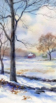 FARM SKETCH watercolor landscape, painting by artist Barbara Fox