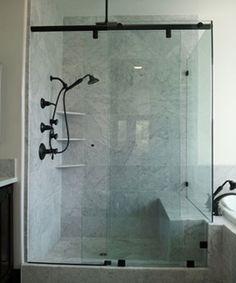 hydroslide shower door in oil rubbed bronzeno handle pictured here