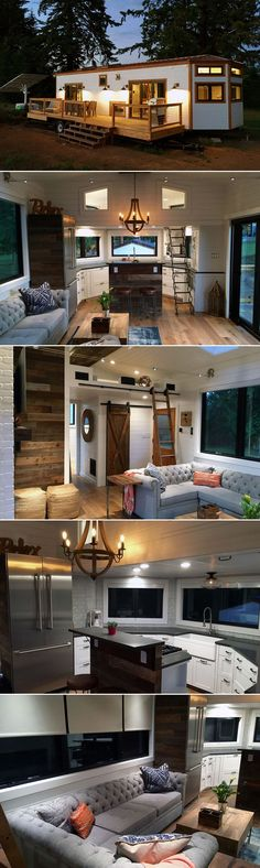 A tiny house with a sectional and a kitchen island? Also, a big deck is a must on a tiny house - instantly adds square footage and makes the home feel bigger! Tyni House, Tiny House Living, Full House, Two Bedroom Tiny House, Loft House, Bedroom Small, Bedroom Modern, House Built, Cottage House