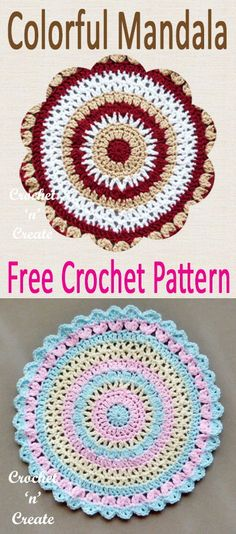 Pretty and colorful mandala free crochet pattern, make for the tables around your home. #crochetncreate #freecrochetpatterns #crochetmandala #crochetdoily