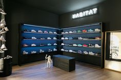 "Inspired by an underground sneakers-room, the original interiors of the store, with pitch-black walls, neon logo and shelves lit by colored LEDs to highlight the shoes, were inspired by the 80ies ""street"" culture."
