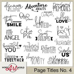 Digital Word Art Set for Personal Use Created by Word Art World Scrapbook Quotes, Scrapbook Titles, The Words, Fun Craft, Craft Ideas, Digital Word, Cursive Alphabet, Word Art Design, Fonts