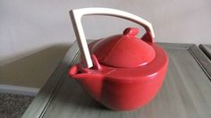 Red Art Deco Teapot