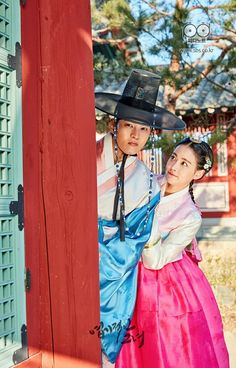 Joo Won, Oh Yeon Seo, Lee Jung Shin, and Kim Yoon Hye get into character for historical drama My Sassy Girl Korean Drama 2017, Korean Drama Movies, Korean Hanbok, Korean Dress, Cinderella And Four Knights, Oh Yeon Seo, My Sassy Girl, Bridal Mask, Joo Won