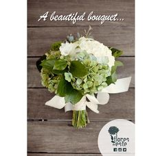 A beautiful #bouquet in greens & soft, romantic white big #hydrangea blooms, is simply gorgeous #flowers #Colombia