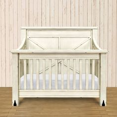 Franklin & Ben Providence 4-in-1 Convertible Crib Distressed White (Toddler Rail Included)