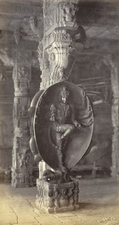 Peroor Temple, near Coimbatore. Third carved pillar in centre aisle. Shiva Print from an album of 44 albumen prints by Edmund David Lyon, 1870. British Library