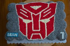 Red Autobot pull apart cupcakes cake #edibleart