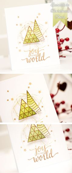Watercolor geometric Christmas Trees for a modern and clean holiday card. Details here http://www.yanasmakula.com/?p=51566