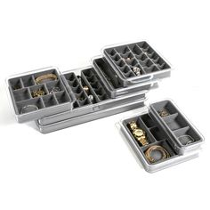 Organize your jewelry to fit your drawer space with stacking Jewelry Trays by Neatnix®