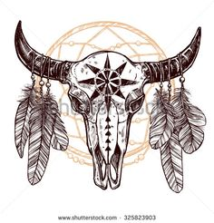 native american drawings skull of bufallo - Google Search