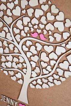 Benutzerdefinierte Hochzeit Gast Buch Alternative - 3D Hochzeit Baum-Gästebuch - Holz rustikal Hochzeit Gäste Buch - Tree of Hearts - CUTIE POP 110 Herzen
