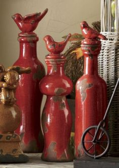 Bottles, Cranberry, Set of 3 from Through the Country Door® Pie Bird, Red Cottage, Red Kitchen, Rooster Kitchen, Altered Bottles, Bottles And Jars, Shades Of Red, My Favorite Color, Favorite Things
