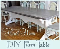 DIY Farm Table » All Things Heart and Home... Ana White... SO MANY PLANS... IM SALIVATING... FROM KITCHEN CABINETS TO TOYS AND TOY BOXES...