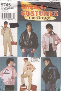 Simplicity 8745 50s Grease Happy Days Costume Pattern Stage Sewing Pattern Jacket Jumpsuit and Applique by mbchills