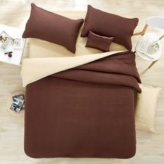 Deep beige solid color  Bedding AB surface version of  design 4Pcs duvet cover bed sheet  pillowcase king super king size soft #Affiliate