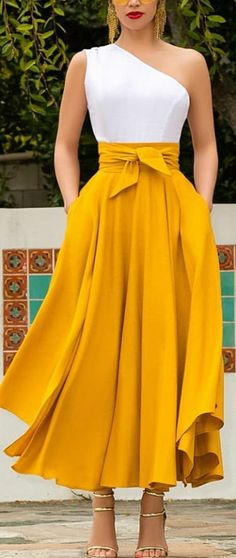 Neon Yellow Irregular Pockets Belt Lace-up High Waisted Flowy Cute Maxi Skirt Yellow Skirt Outfits, Long Skirt Outfits, Yellow Skirts, Modest Fashion, Hijab Fashion, Fashion Dresses, Long Skirt Fashion, Modest Clothing, Tie Skirt