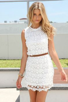 New Fashion Women Dress Crochet Lace Crew Neck Sleeveless Solid Slim Mini Cute One-piece White