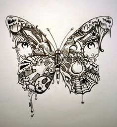 """tattoo inspiration - Butterfly...  in an """"I SPY"""" twist with so many small lovely things going on here."""