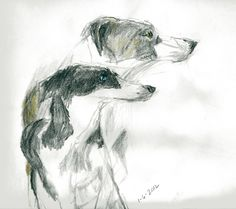 The Lurchers- Pencil and colored pencil on drawing paper. 10 x 12