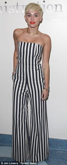Miley Cyrus wearing Brian Atwood Karin Platform Sandals in Black and Chanel Striped Strapless Jumpsuit. Miley Cyrus Style, Miley Cyrus News, Teen Choice Awards, Liam Hemsworth, Strapless Jumpsuit, Strapless Dress Formal, Punk, Striped Jumpsuit, Raves