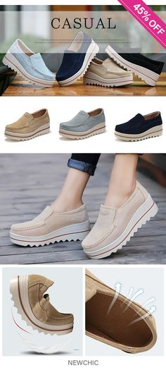 US$29.30  Womens Breathable Suede Round Toe Slip On Platform Shoes