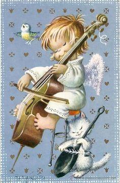 Ferrandiz Christmas Scenes, Christmas Angels, Christmas Illustration, Cute Illustration, Vintage Christmas Cards, Vintage Cards, Cute Kids Pics, Music Crafts, Sacred Art