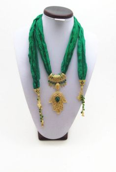 Green with hamsa hand scarf necklace Mothers by Themagicofcolors, $32.00