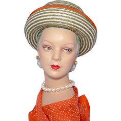 Vintage 1960s Green and White Stripe Cuffed Hat Orange Trim available at My Vintage Clothes Line on Ruby Lane.