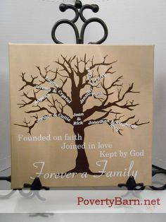 $25 The Poverty Barn Family Tree canvas in tan!