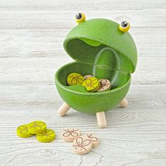 Divide into two teams and throw a bug token for the hungry frog. Each team takes a turn until all tokens are played. The team that feeds the frog with the most bugs is the winner.