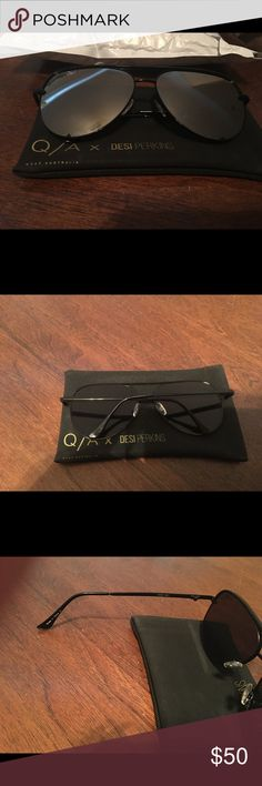 Desi Perkins sunglasses Black with silver lens Quay Australia Accessories Sunglasses