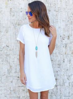 cdf7a17b1e0091 White Casual Short Sleeve Round Neck Women Chiffon Loose Dress. White  Dresses For WomenTunic ShirtShirt ...