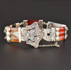 Victorian Scottish Agate Buckle Bracelet  #Bracelet #Sterling #Buckle #Victorian #Scottish #Agate #Mexican #Cuff #Germany #Cluster