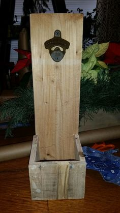 Pallet beer bottle opener wall hung or table top