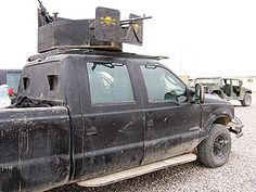 Improvised armored truck, skulls and all
