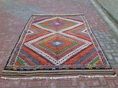 Turkish Kilim Rug Antique Colorful Kilim Rugs by KilimRugStore