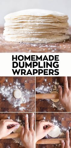 Making homemade dumpling wrappers is simple. This dumpling wrappers recipe is great for potstickers or boiled dumplings. Dumpling Skin, Dumpling Dough, Dumpling Recipe, Dumplings From Scratch Recipe, Vegan Dumplings, Homemade Dumplings, Chinese Dumplings, Chicken Dumplings, Asia Food