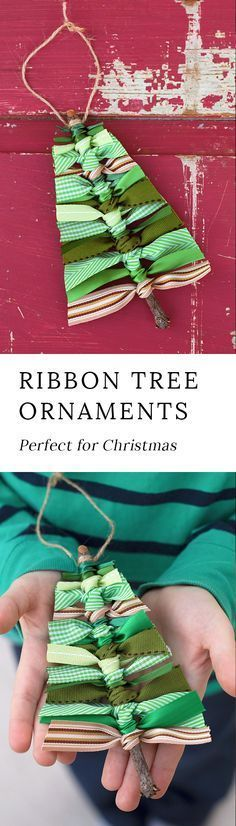 Use sticks and scraps of green ribbon to make this rustic Scrap Ribbon Tree Ornament. It's the perfect homemade Christmas ornament for kids to make or give as gifts! #christmaswithkids #diychristmasornaments