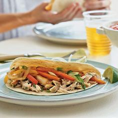 Tex-Mex Chicken Fajitas are a festive, flavorful main for an easy weeknight dinner. Learn how to make a quick, build-your-own fajita bar using rotisserie chicken, fresh veggies, and assorted toppings. Serve with rice and beans to round out the plate. Chicken Fajita Recipe, Chicken Fajitas, Chicken Recipes, Chicken Ideas, Turkey Recipes, Mexican Food Recipes, Dinner Recipes, Ethnic Recipes, Duck Recipes