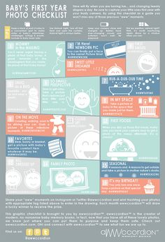 Baby's First Year Photo Checklist by awwccordion™. Graphic Checklist for baby's first year in photos