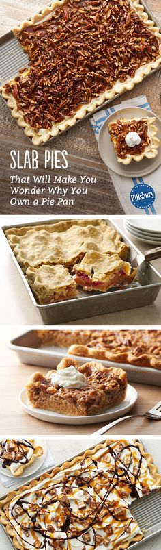 These slab pies are your favorite classic pies served in crowd-form. Even if you aren't serving a crowd, it's a guaranteed way to have leftover pie! Pie Dessert, Eat Dessert First, Dessert Recipes, Dessert Table, Just Desserts, Delicious Desserts, Yummy Food, Awesome Desserts, Yummy Treats