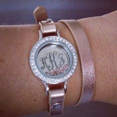Origami owl leather wrap in rose gold with crystal face, inscriptions monogrammed plate & stardust crystals! Love it so much!