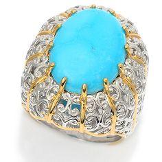 159-472 - Gems en Vogue 16 x 12mm Oval Kingman Turquoise High-Set Cocktail Ring