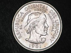 Uruguay 10 Pesos Commemorative Silver coin, El Gaucho, Commemoration of the 150 years of Revolution against Spain, 1961