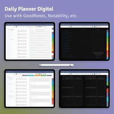 Stay organized with this Daily Planner, you can use it over and over again since it's undated and reusable. Download it to your tablet in one of the popular note-taking apps. You can use it with Notability, Xodo, Noteshelf and Goodnotes for your iPad. #daily #planner #schedule #hourly #wellness Weekly Meal Planner, Goals Planner, Fitness Planner, Planner Journal, Journal Template, Planner Template, Meal Plan Grocery List, Line Graphs, Planning And Organizing